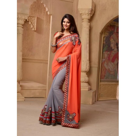 Orange Designer Saree