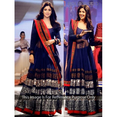Shilpa Shetty Navy Blue Long Anarkali Suit