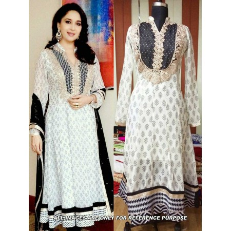 Madhuri White Anarkali Suit