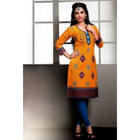 Yellow Straight Kurti