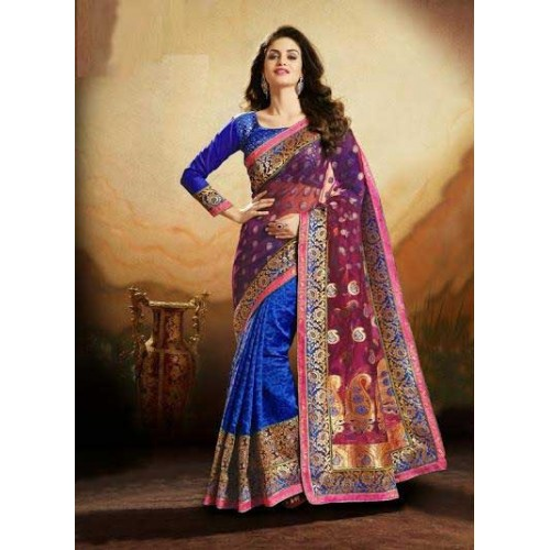 Pink & Blue Designer Saree