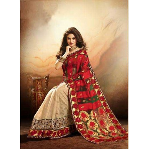 Red & Beige Designer Saree