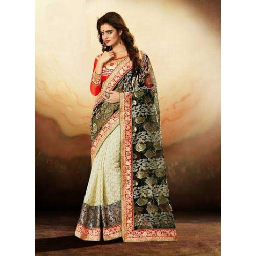 Cream & Black Designer Saree