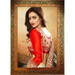 Cream & Black Designer Saree
