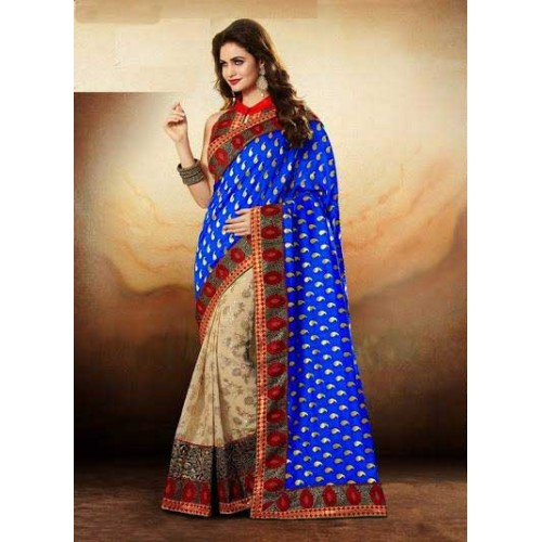 Blue & Beige Designer Saree