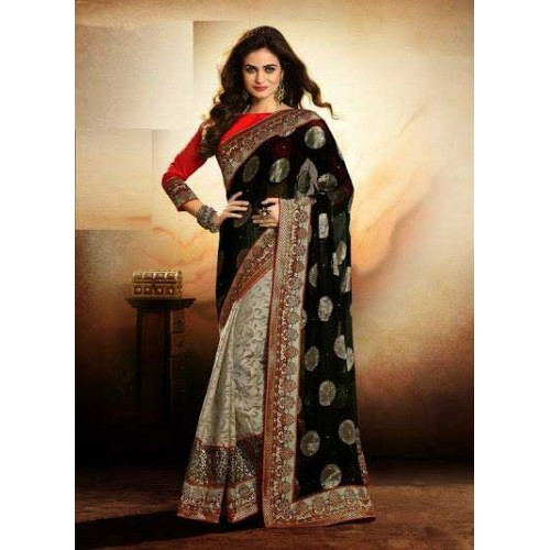 Off White & Black Designer Saree