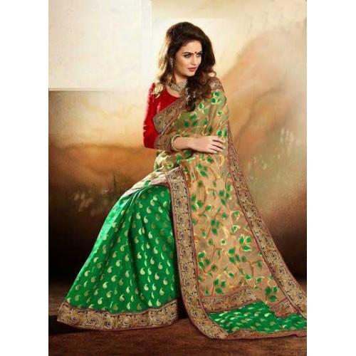 Green & Beige Designer Saree
