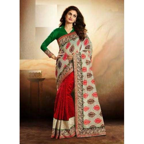 Red & Off-white Designer Saree