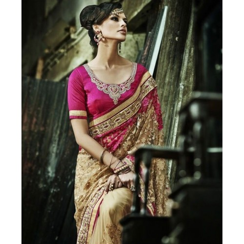 Maroon & Golden Designer Saree