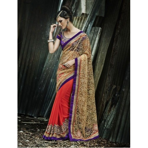 Red & Blue Designer Saree