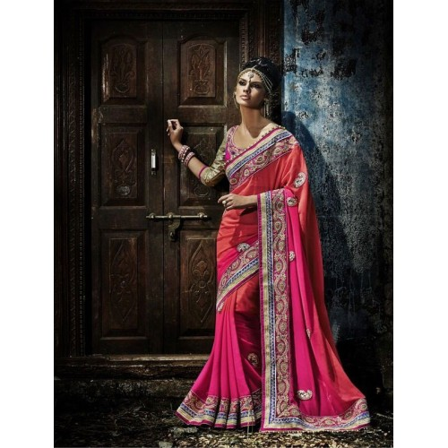 Red & Pink Designer Saree