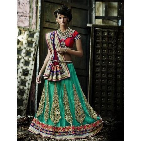 Green & Red Designer Lehanga