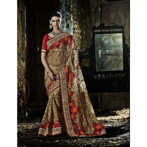 Orange & Golden Designer Saree