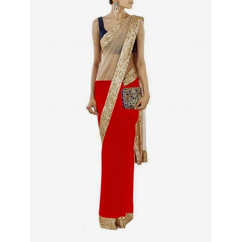 Red Designer Saree